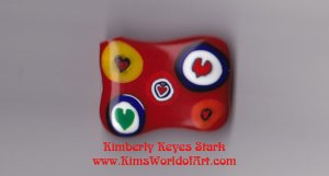 Hearts on Red Background Fused Glass Piece