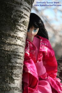 Volks Dollfie Dream Doll Peeking From Cherry Blossom Tree