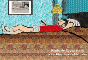 Man Lying in Bed, Watching Television (Color)