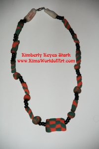Study in Light Blue, Orange, and Black Necklace