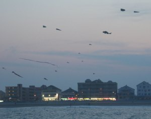 Kites Flying at Sunset, Ocean City, Maryland