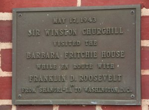 Marker Explaining Winston Churchill's Visit to Barbara Fritchie House, Frederick, Maryland