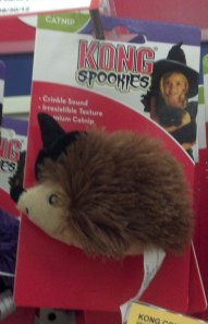 Halloween Cat Toy Resembling a Hedgehog With a Witch Hat