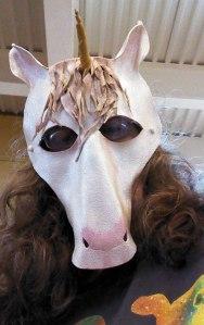 Me Wearing the Unicorn Mask