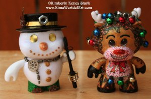Steampunk Snowman and Ruldoph the Red-Nosed Tangled Reindeer