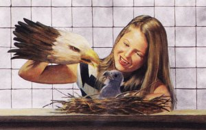 Julie feeds an eagle chick with an eagle hand puppet.