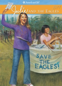 Julie does some fundraising for an eagle family at an Earth Day festival while Ivy is assembling a kite from a kit that Julie's school is selling as part of the fundraiser.