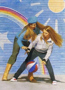 I love this illustration of the two sisters playing basketball together. It does a great job showing a lot of action.
