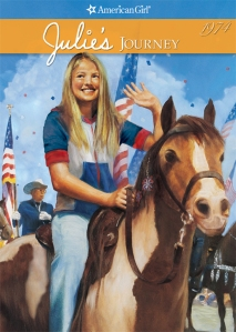 Julie masters horseback riding just in time for the Bicentennial celebrations on the Fourth of July, 1976.